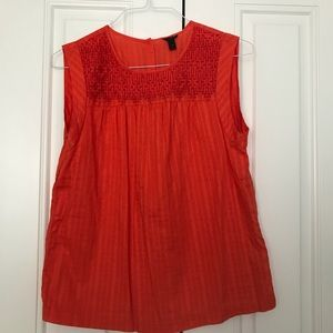 j. crew embroidered windowpane orange cotton top